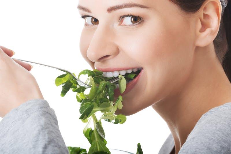 woman alone salad